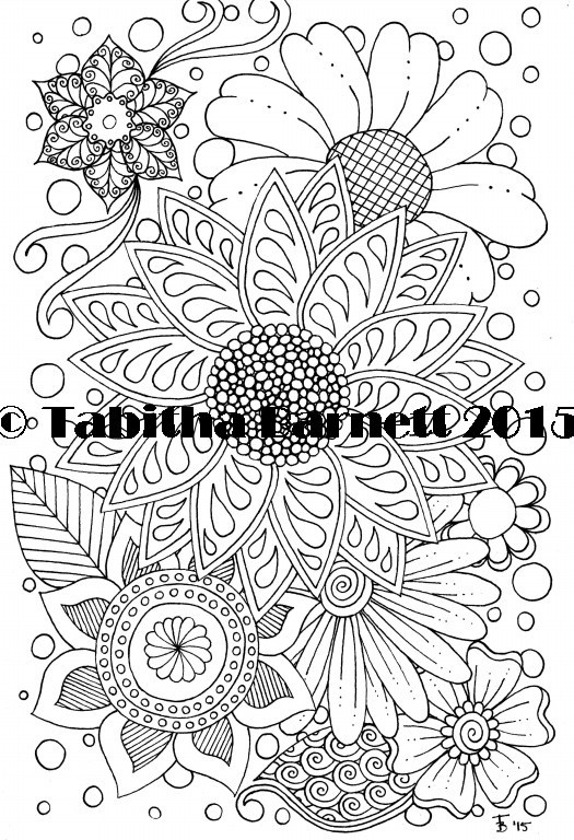Fun With Flowers adult coloring page