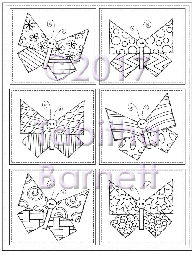 Tangled and Stitched Butterflies Coloring Page