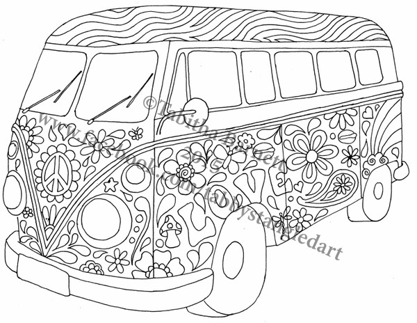 hippie van coloring pages | Hippie Bus Coloring Page - Tabby's Tangled Art