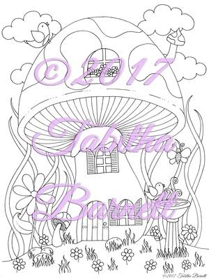 Mushroom House Adult Coloring Page JPG
