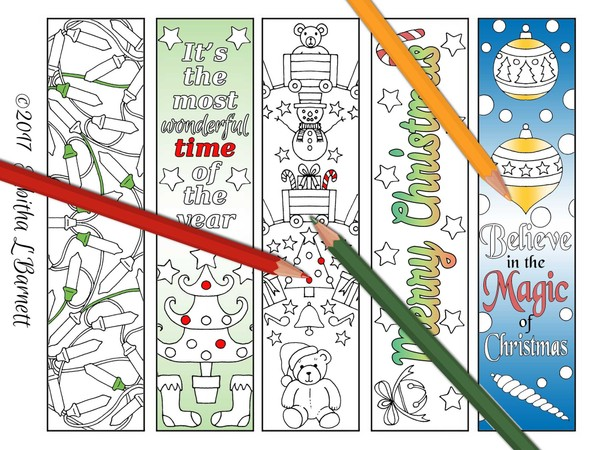 Christmas Coloring Bookmarks/Gift Tags Set 2 JPG