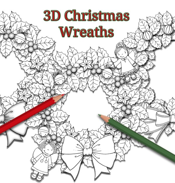3D Christmas Wreaths Coloring Pack (3pg PDF)