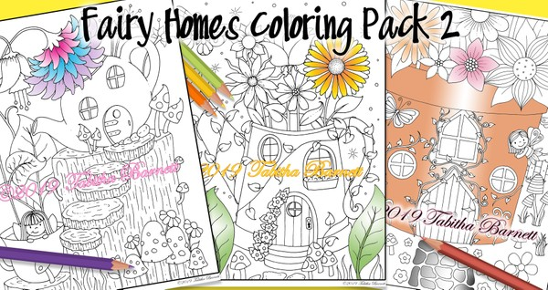 Fairy Homes Coloring Pack #2 (3 page pdf)