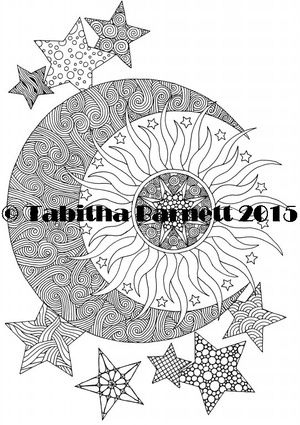 Sun Moon Stars Coloring Page