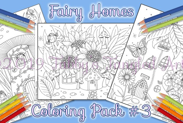 Fairy Homes Coloring Pack #3 (3 page pdf)