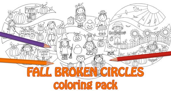Fall Broken Circles Coloring Pack (3pg. pdf)