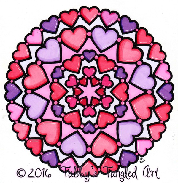 Heart Mandalas Coloring Pack (5 pages PDF)