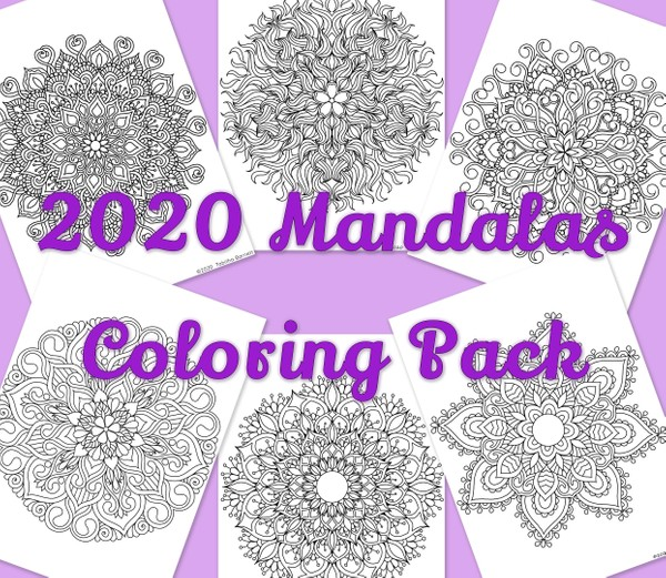 2020 Mandalas Coloring Pack 1 (7 page PDF)
