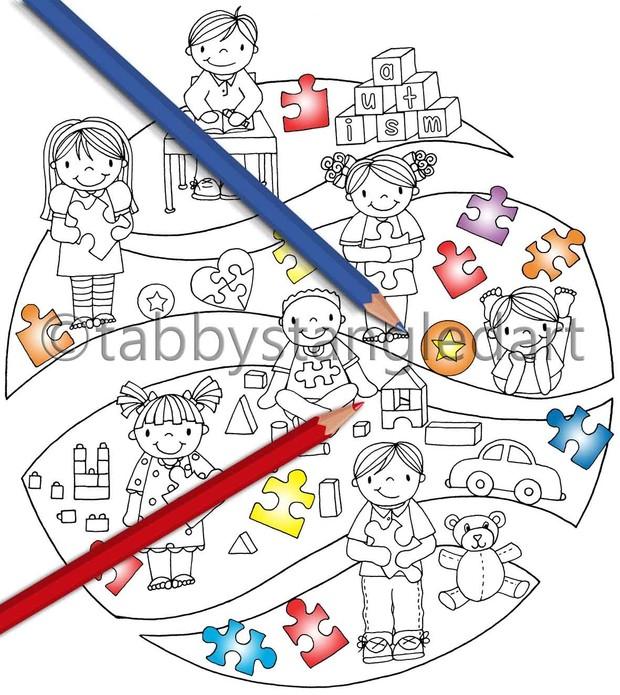 Autism Kids Broken Circle Adult Coloring Page PDF