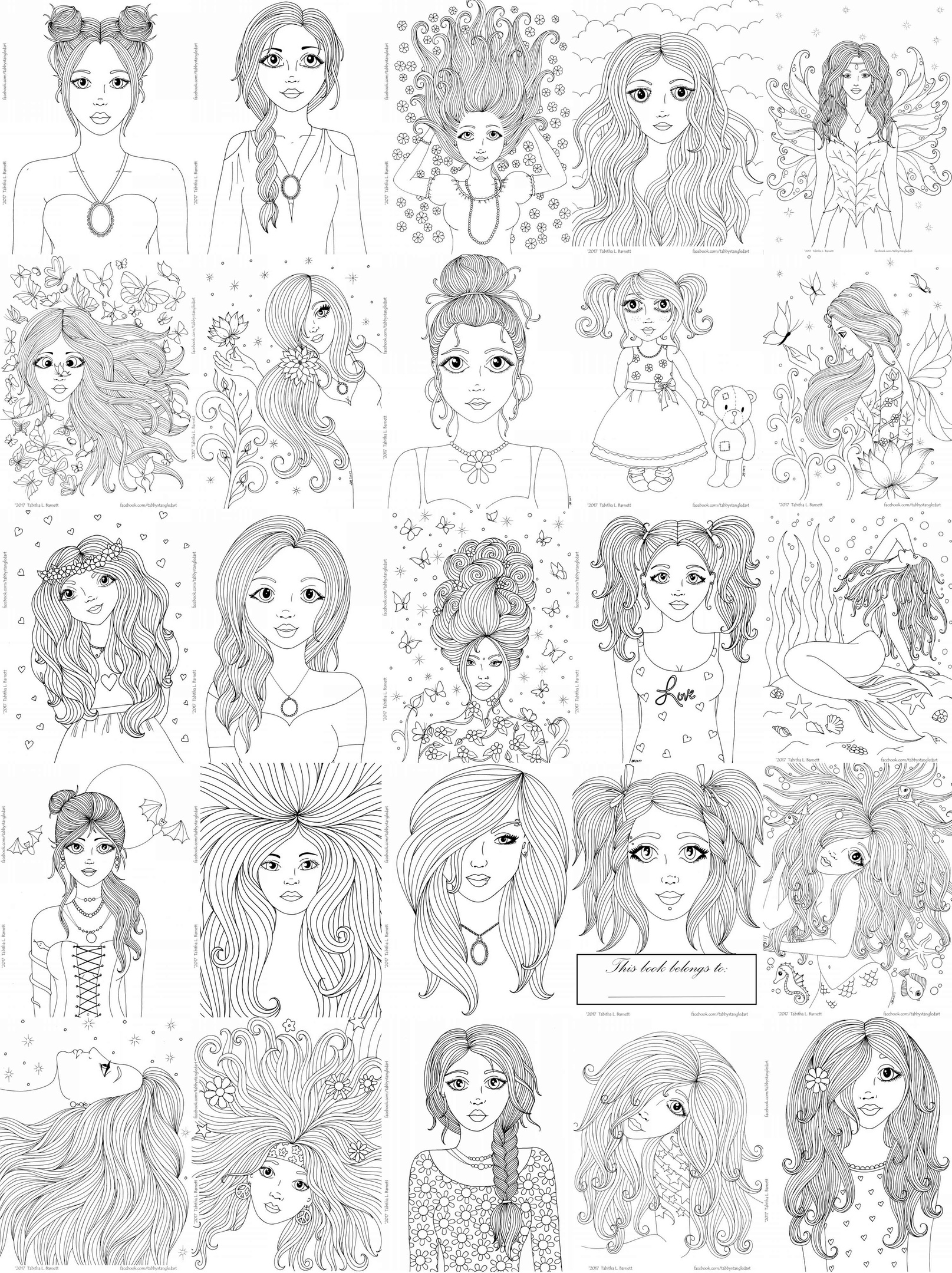 - Girls Girls Girls Adult Coloring Book PDF - Tabby's Tangled Art