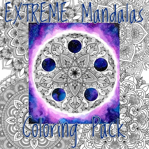 Extreme Mandalas Coloring pack (7 pg. PDF)