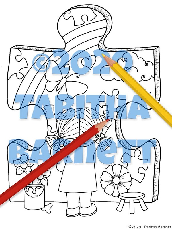 Autism Awareness Coloring Pack 2 (4 page PDF)
