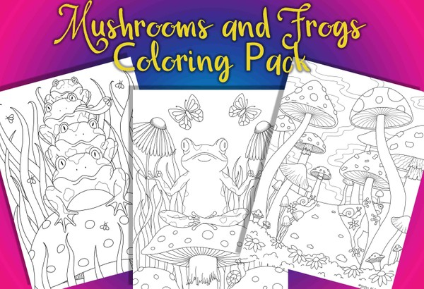 Mushrooms and Frogs Coloring Pack