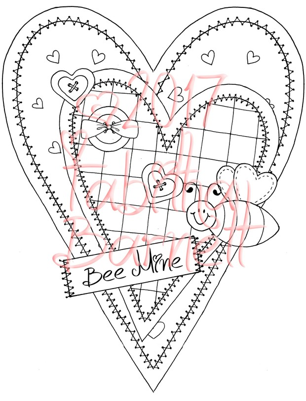 Bee Mine Adult Coloring Page JPG