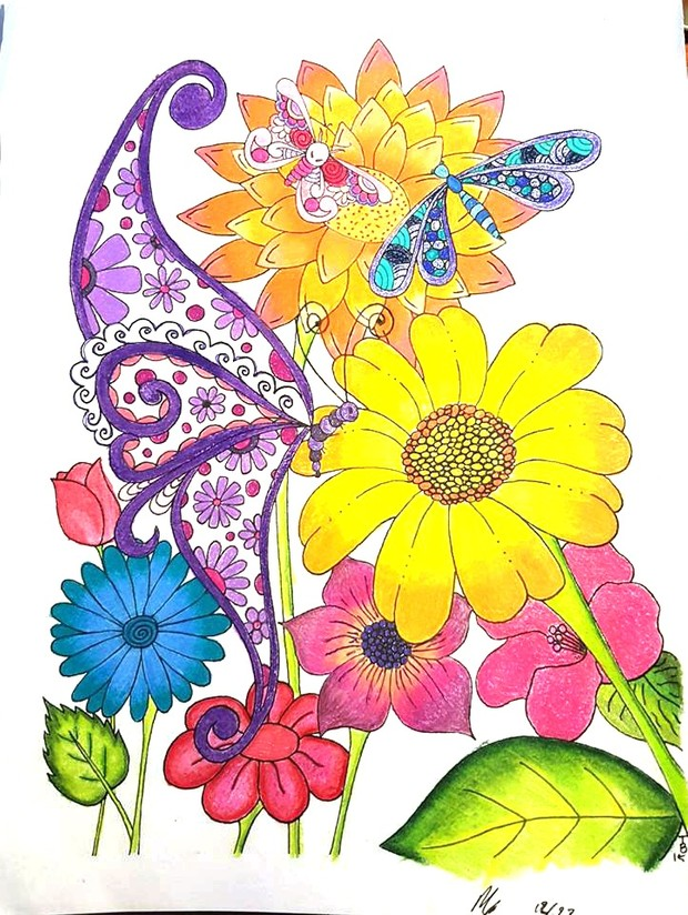 Flies in the Garden Coloring Page
