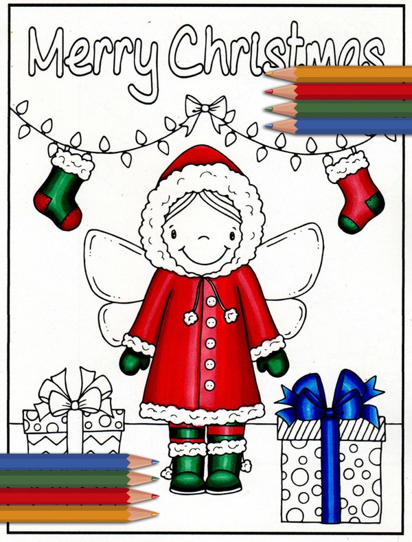 Fairy Christmas Coloring Page / Christmas Card