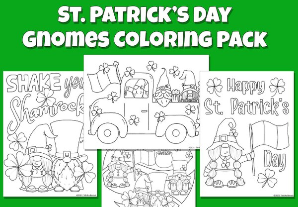 St. Patrick's Day Gnomes Coloring Pack PDF