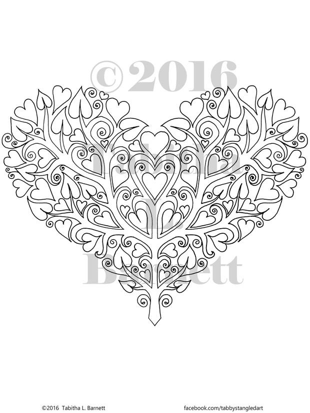 Heart Shaped Tree Coloring Page PDF