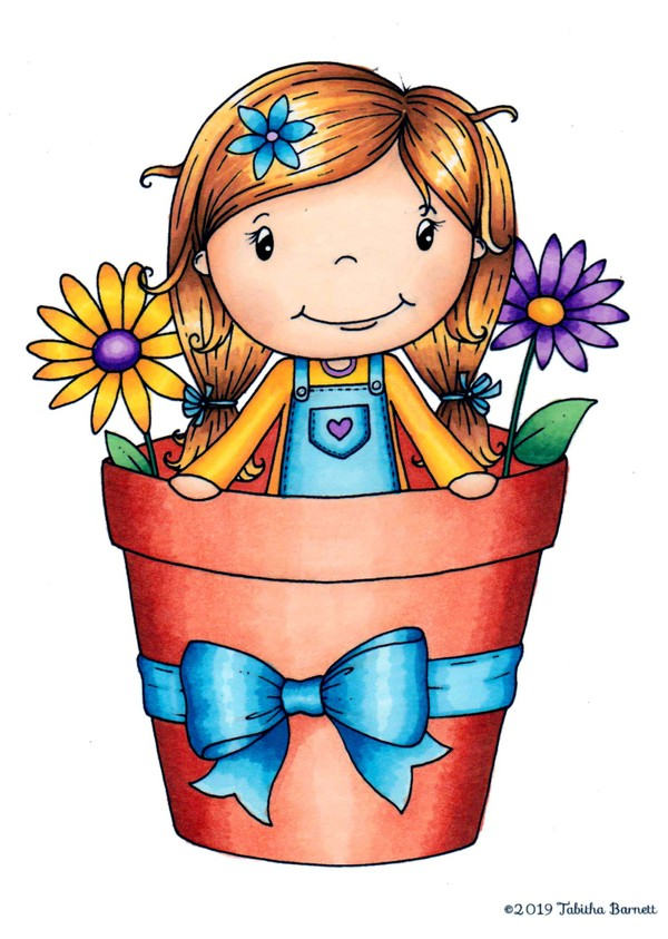 Flower Pot Fiona Coloring Page/ Digi-Stamp