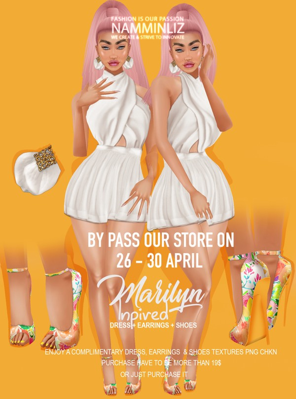 By Pass our stores on 26 to 30 April to get a complimentary Marilyn Inspired Bundle Dress + Earrings
