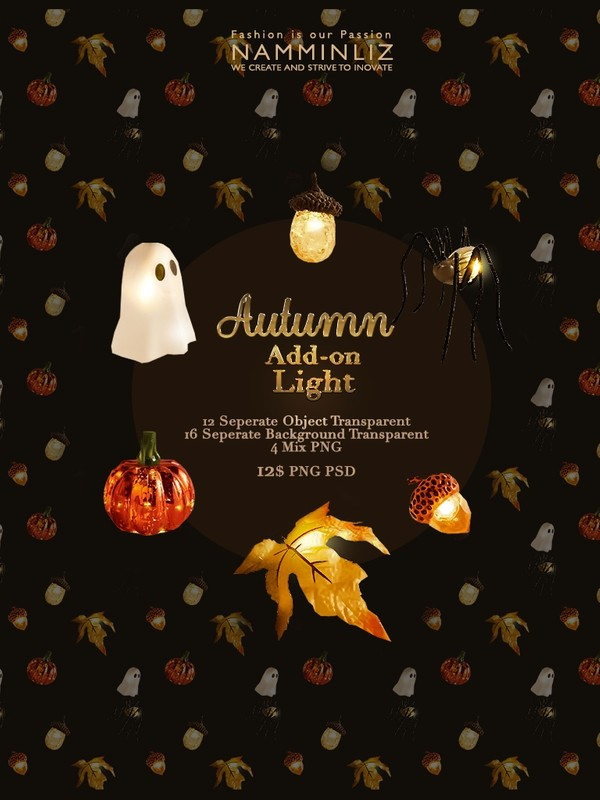 Autumn Add-on Light isolated objects psd & Textures Transparent PNG