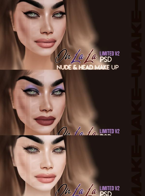 Oh La La Head Make-up V2 PSD Realistic drawing Unlimited Make-up COLOR & LIPS COLORS Textures JPG