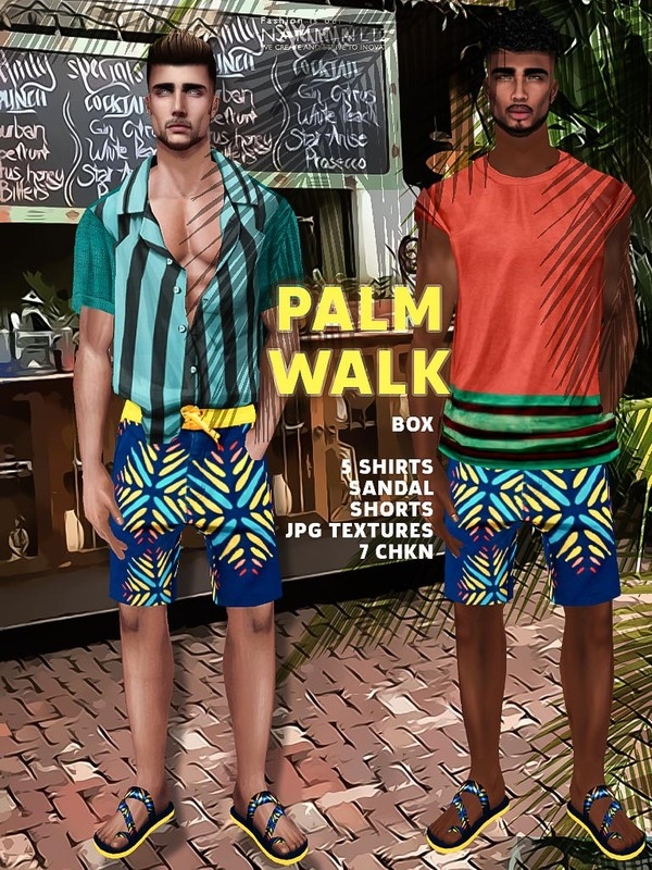 Palm Walk Box JPG Textures 5 Tops + Sandal + Shorts 7 CHKN