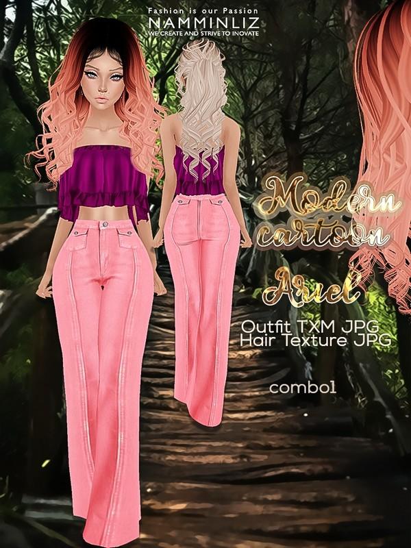 Modern Cartoon combo1 Ariel Outfit JPG textures TXM + Hair texture