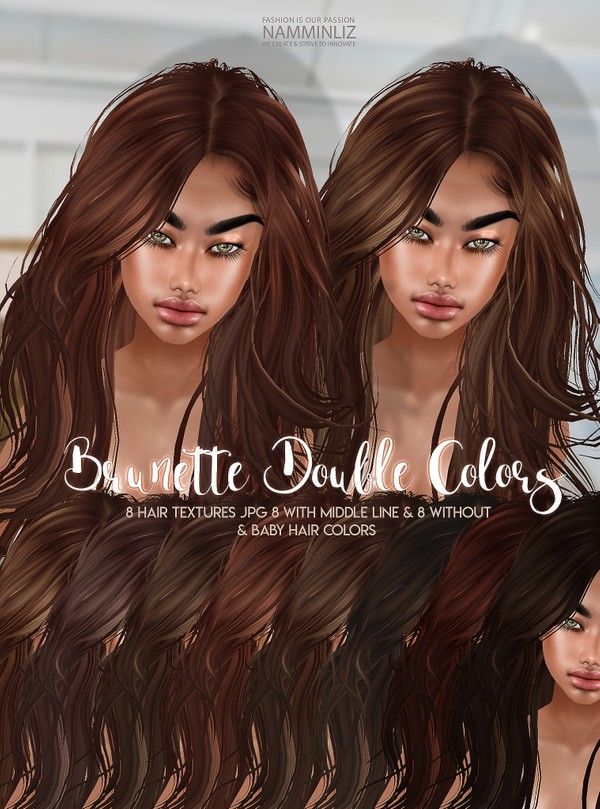 Brunette Double Colors V2 Hair 8 Textures JPG with Midle line & Without & bb Hair Textures color