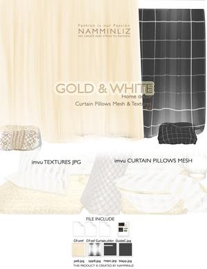 Gold & White imvu Curtain Pillow mesh & texture JPG, XSF, XMF, CHKN files