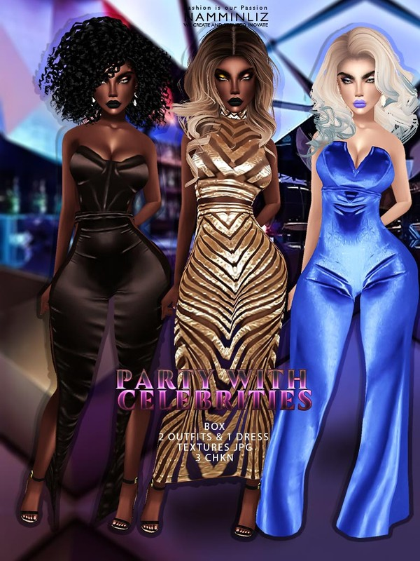 Party with Celebrities Box JPG Textures TXL TXM 2 Outfits 1 Dress 3 CHKN