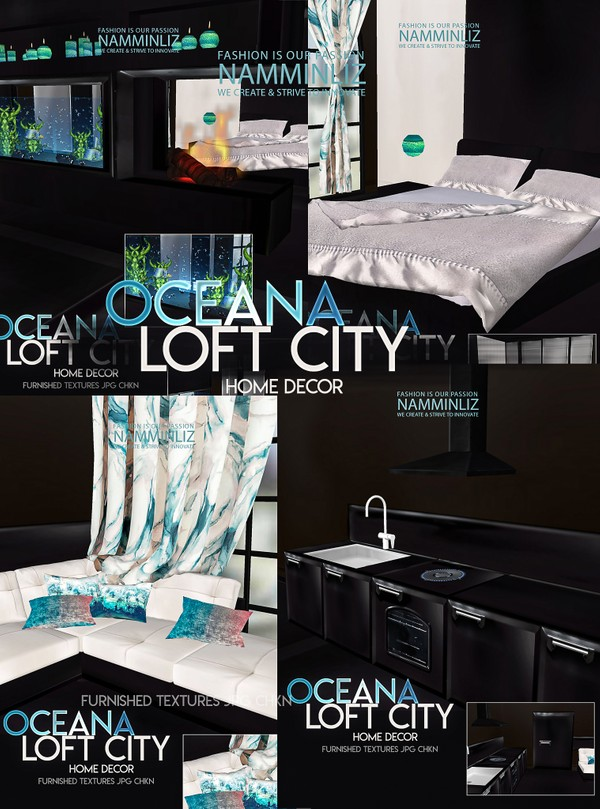 Oceana Loft City Home decor Furnished 35 Textures JPG