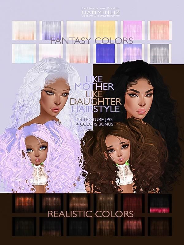 LIKE MOTHER LIKE DAUGHTER 24 Hairstyle Texture JPG + 4 Bonus colors
