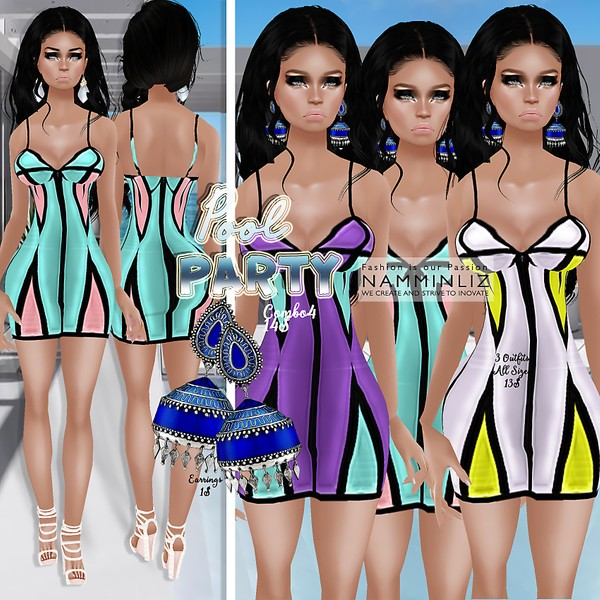 PoolParty combo4 ( 3 Dresses Bibirasta + Earrings )