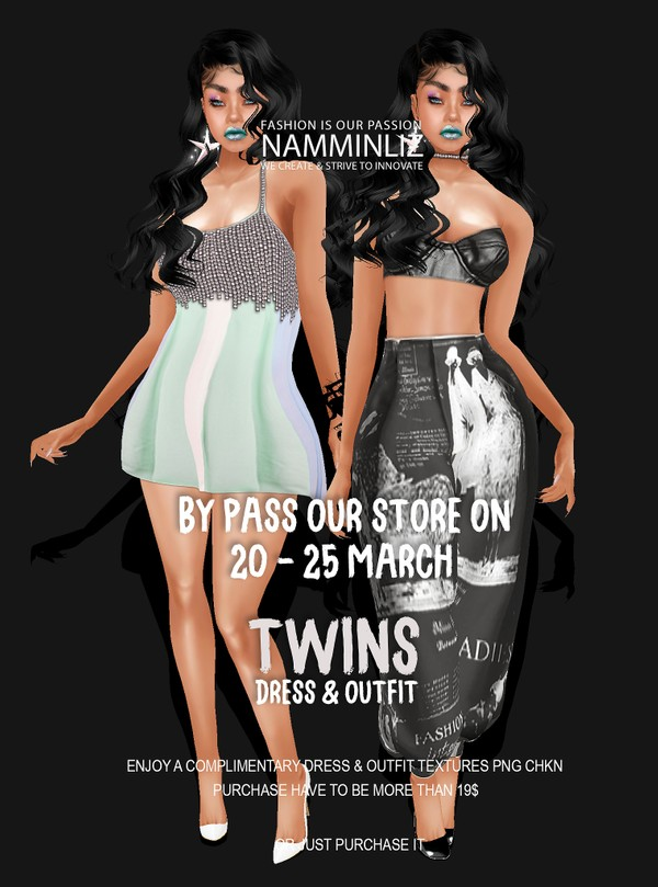 By Pass our stores on 20 to 25 March to get a complimentary twinsDress & Outfit Textures PNG CHKN