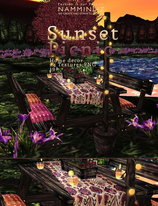 Sunset Picnic imvu home decor 24 Textures PNG