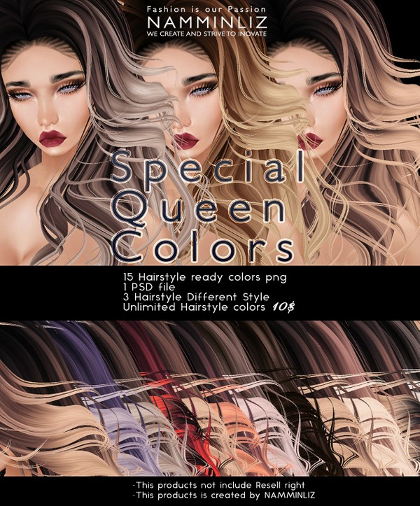Special Queen Colors PSD •15 Hairstyle Textures •3 Hairstyle Style imvu
