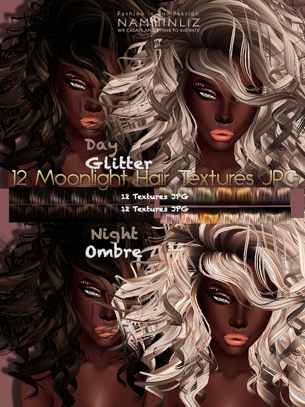 Moonlight Hair Textures Full ( 24 Textures JPG )