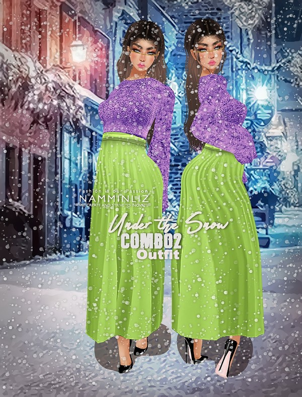 Under The Snow Combo2 Textures PNG 1 CHKN Outfit (Sweater & Skirt)