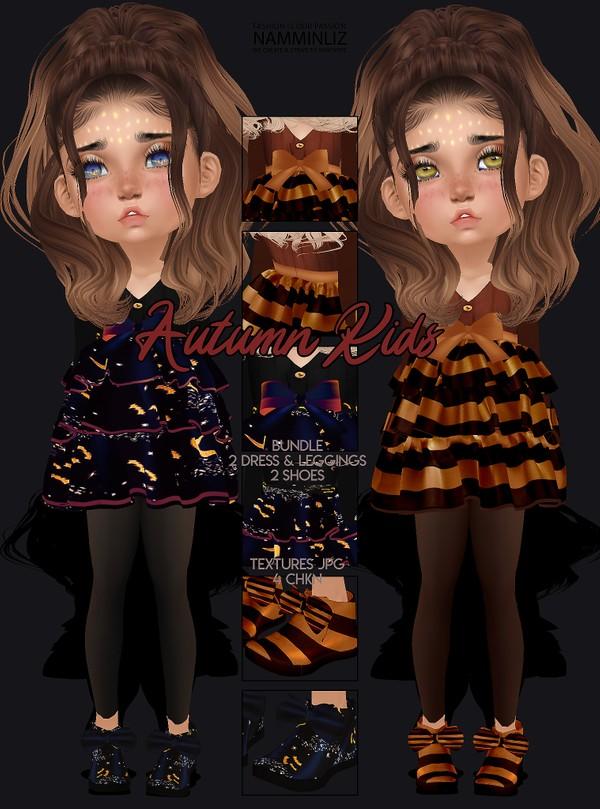Autumn Kids Bundle Textures 2 dresses & Leggings & 2 Shoes JPG 4 CHKN