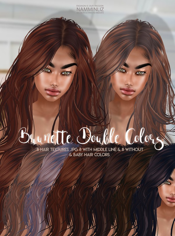 Brunette Double Colors V1 Hair 8 Textures JPG with Midle line & Without & bb Hair Textures color
