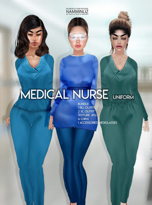 Medical Nurse Uniform Bundle Outfits 1 RLL & 2 XL & Accessories glasses Textures JPG 4 CHKN