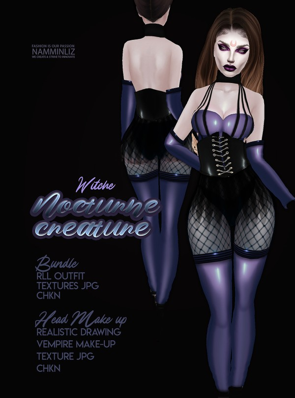 Nocturne Creatures Witch RLL Outfit & Head Make-up Textures JPG 2 CHKN
