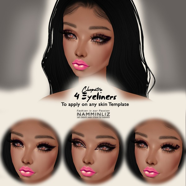 Cleopatra  4 EyeLiners To Apply on Any Skin Template( Textures PNG)