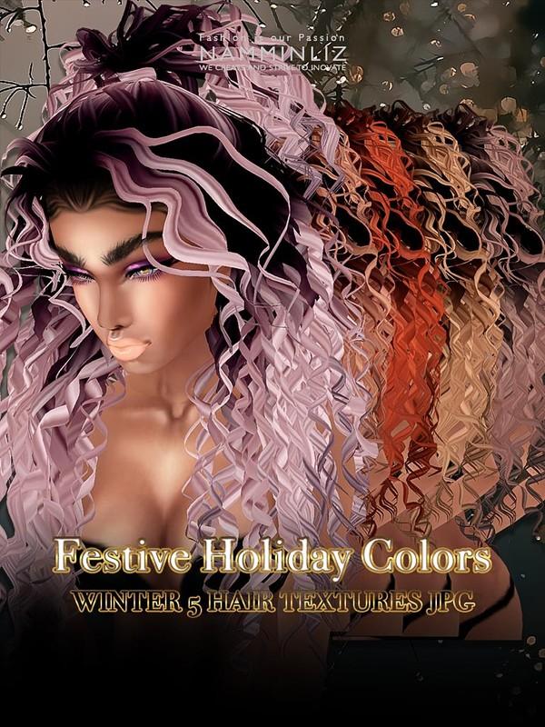 Festive Holiday colors Winter 5 hair textures JPG