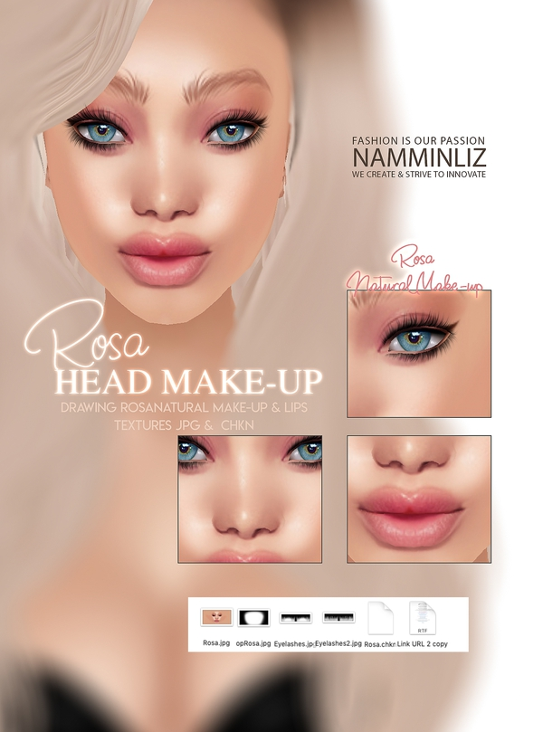 Rosa Head Make-up Textures JPG CHKN (Make-up, Lips, Eyelashes) Head Mesh link imvu KD Limited to 3
