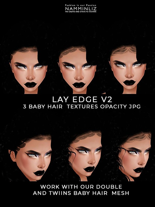 Lay Edge V2 Baby hair Textures 3 Opacity JPG (work with our Double and TWIINS Mesh link below)
