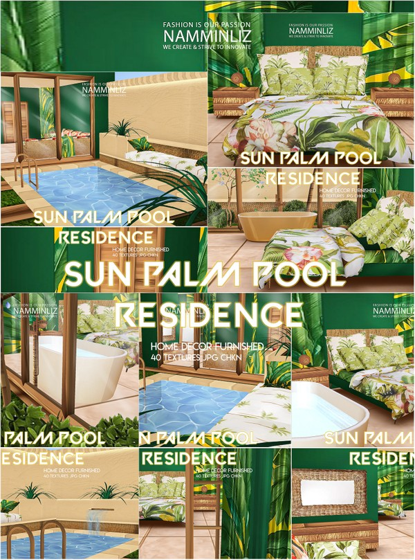 Sun Palm Pool Residence Home decor furnished 40 Textures JPG CHKN