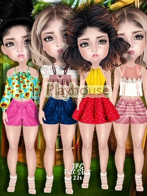 Playhouse Full Set ( JPG Textures Tops Bibirasta, Shorts Sis3d, Skirts )