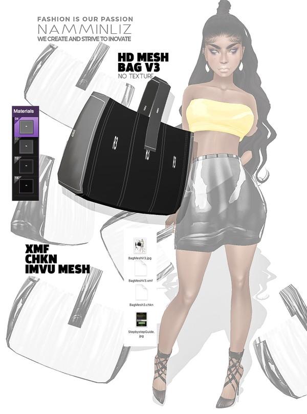 HD Bag imvu Mesh V3 XMF CHKN (no Textures) Derivable Mesh